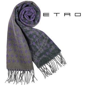 ETRO カシミヤ100% 千鳥 マフラー CM SPLIZ purple 14372【W14372】 エトロ|utsubostock
