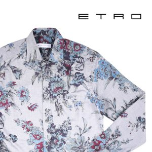 ETRO 花柄 長袖シャツ dark gray XS【A14399】|utsubostock