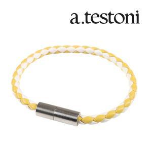 A.TESTONI ブレスレット メンズ イエロー 黄 レザー ア・テストーニ 並行輸入品|utsubostock