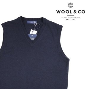 WOOL&CO ベスト メンズ 秋冬 M/46 ネイビー 紺 カシミヤ混 ウールアンドコー 並行輸入品|utsubostock