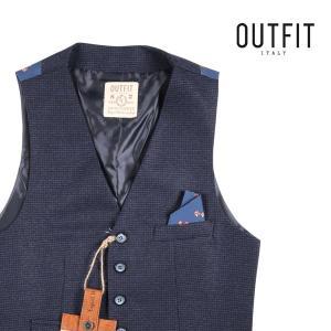 【46】 OUTFIT ITALY アウトフィット・イタリー ジレ メンズ 秋冬 千鳥 ネイビー 紺 並行輸入品 ベスト|utsubostock