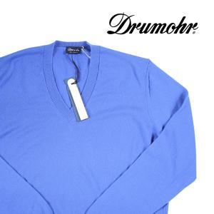 Drumohr Vネックセーター メンズ 秋冬 52/2XL ブルー 青 カシミヤ100% ドルモア 大きいサイズ 並行輸入品|utsubostock