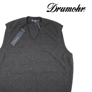 【50】 Drumohr ドルモア Vネックベスト メンズ 秋冬 カシミヤ100% グレー 灰色 並行輸入品|utsubostock