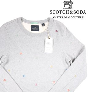 SCOTCH&SODA ヤシの木柄 トレーナー 136417 gray S 14927G【A14927】|utsubostock