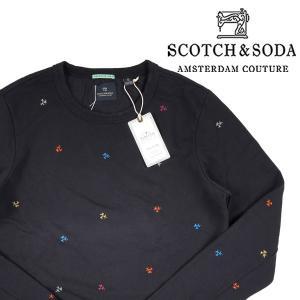 SCOTCH&SODA ヤシの木柄 トレーナー 136417 navy L 14927N【A14929】|utsubostock