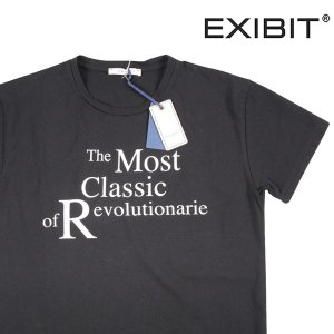 EXIBIT Uネック半袖Tシャツ メンズ M/46 ブラック 黒 エグジビット 並行輸入品|utsubostock