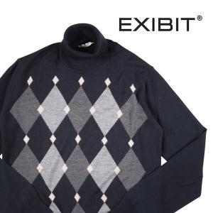 EXIBIT タートルネックセーター メンズ 秋冬 L/48 ネイビー 紺 エグジビット 並行輸入品|utsubostock