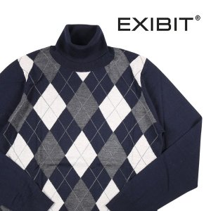 EXIBIT タートルネックセーター メンズ 秋冬 M/46 ネイビー 紺 エグジビット 並行輸入品|utsubostock