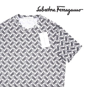 【S】 Salvatore Ferragamo サルヴァトーレ・フェラガモ Uネック半袖Tシャツ メンズ 春夏 ホワイト 白 並行輸入品 トップス|utsubostock