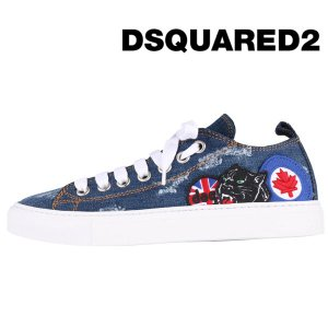 DSQUARED2 スニーカー メンズ ブルー 青 パッチワーク S17SN116 ディースクエアード 並行輸入品|utsubostock