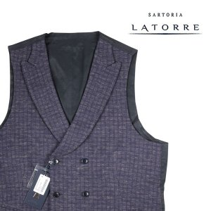 Sartoria Latorre ジレ METZ blue 50 15409B【W15411】 サルトリア・ラトーレ|utsubostock