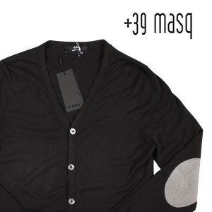 【M】 +39 masq マスク カーディガン メンズ ブラック 黒 並行輸入品 ニット|utsubostock