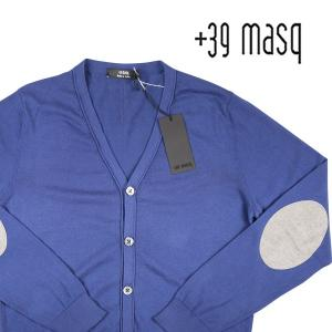 【L】 +39 masq マスク カーディガン メンズ ブルー 青 並行輸入品 ニット|utsubostock
