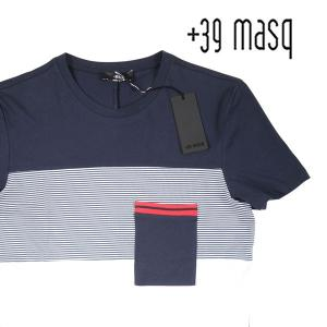 【XL】 +39 masq マスク Uネック半袖Tシャツ メンズ 春夏 ボーダー ネイビー 紺 並行輸入品 トップス|utsubostock