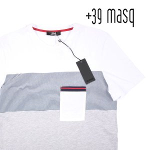 【XL】 +39 masq マスク Uネック半袖Tシャツ メンズ 春夏 ボーダー ホワイト 白 並行輸入品 トップス|utsubostock