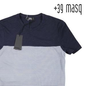 【L】 +39 masq マスク Uネック半袖Tシャツ メンズ 春夏 ボーダー ネイビー 紺 並行輸入品 トップス|utsubostock
