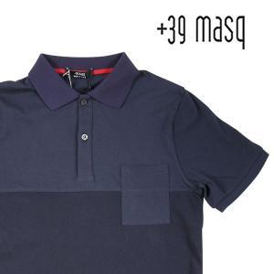 【S】 +39 masq マスク 半袖ポロシャツ メンズ 春夏 ネイビー 紺 並行輸入品 トップス|utsubostock