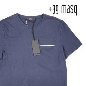【XL】 +39 masq マスク Uネック半袖Tシャツ メンズ 春夏 ネイビー 紺 並行輸入品 トップス|utsubostock