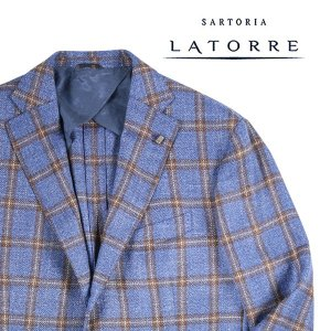 【54】 Sartoria Latorre サルトリア・ラトーレ ジャケット メンズ シルク混 チェック ブルー 青 並行輸入品 アウター トップス 大きいサイズ|utsubostock