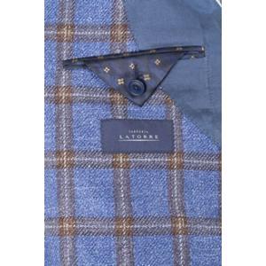【54】 Sartoria Latorre サルトリア・ラトーレ ジャケット メンズ シルク混 チェック ブルー 青 並行輸入品 アウター トップス 大きいサイズ utsubostock 08