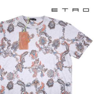 【L】 ETRO エトロ Uネック半袖Tシャツ メンズ 春夏 ペイズリー グレー 灰色 並行輸入品 トップス|utsubostock