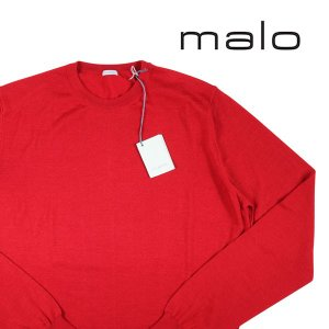 【52】 malo マーロ 丸首セーター メンズ カシミヤxシルク混 レッド 赤 並行輸入品 ニット 大きいサイズ|utsubostock
