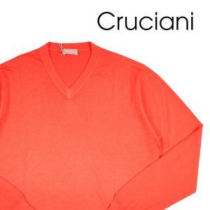 Cruciani Vネックセーター メンズ 50/XL オレンジ カシミヤxシルク混 クルチアーニ 並行輸入品|utsubostock