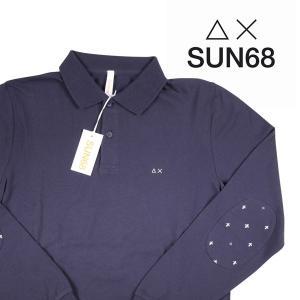 SUN68 長袖ポロシャツ メンズ S/44 ネイビー 紺 サンシックスティーエイト 並行輸入品|utsubostock