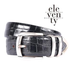 ELEVENTY クロコダイル ベルト black 90 16103BL【A16104】 イレブンティ|utsubostock