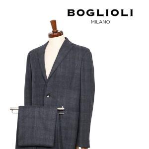 【48】 BOGLIOLI ボリオリ スーツ 23DOVER メンズ 秋冬 チェック グレー 灰色 並行輸入品|utsubostock