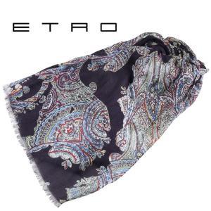 ETRO エトロ ストール メンズ カシミヤ混 ペイズリー ネイビー 紺 並行輸入品|utsubostock