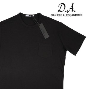 【L】 Daniele Alessandrini ダニエレアレッサンドリーニ Uネック半袖Tシャツ メンズ ブラック 黒 並行輸入品 トップス|utsubostock