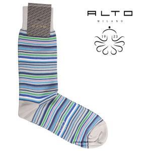 ALTO MILANO 靴下 メンズ ブルー 青 アルト 並行輸入品|utsubostock