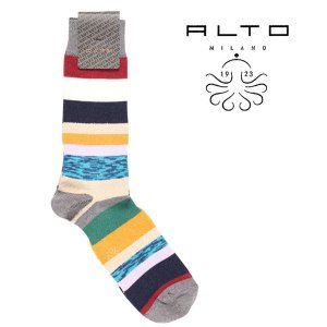 ALTO MILANO 靴下 メンズ マルチカラー アルト 並行輸入品|utsubostock