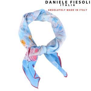 DANIELE FIESOLI スカーフ メンズ ブルー 青 シルク混 ダニエレフィエゾーリ 並行輸入品|utsubostock