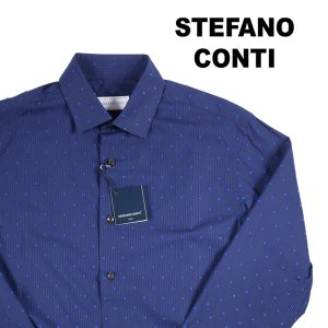 Stefano Conti 長袖シャツ メンズ 37/XS ネイビー 紺 刺繍 ステファノ・コンティ 並行輸入品 utsubostock