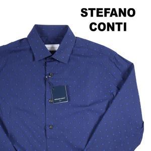 Stefano Conti 刺繍 ストライプ 長袖シャツ LEADER navy 43 16451【A16457】 utsubostock