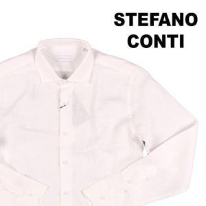 Stefano Conti 長袖シャツ メンズ 42/2XL ホワイト 白 リネン100% ステファノ・コンティ 大きいサイズ 並行輸入品|utsubostock