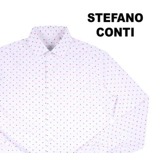 Stefano Conti 長袖シャツ メンズ 38/S ホワイト 白 刺繍 ステファノ・コンティ 並行輸入品|utsubostock