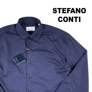 Stefano Conti 長袖シャツ メンズ L/48 ネイビー 紺 ステファノ・コンティ 並行輸入品|utsubostock