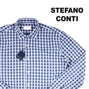Stefano Conti 長袖シャツ メンズ XL/50 ブルー 青 刺繍 ステファノ・コンティ 並行輸入品 utsubostock
