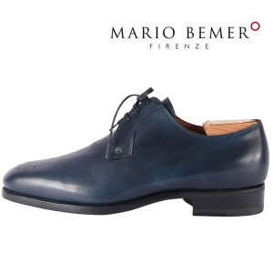 mario bemer 革靴 メンズ 40.5/25.0cm ネイビー 紺 ハンドメイド マリオ・ベーメル 並行輸入品|utsubostock
