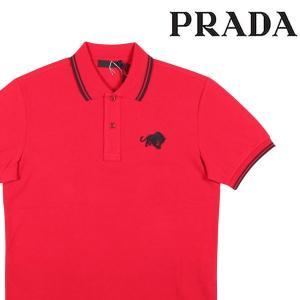 【L】 PRADA prada 半袖ポロシャツ SJJ889 メンズ 春夏 ワンポイント レッド 赤 並行輸入品 トップス|utsubostock