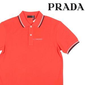 【M】 PRADA プラダ 半袖ポロシャツ SJJ887 メンズ 春夏 ロゴ オレンジ 並行輸入品 トップス|utsubostock