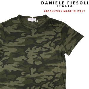 【XL】 DANIELE FIESOLI ダニエレフィエゾーリ Uネック半袖Tシャツ メンズ 春夏 迷彩 グリーン 緑 並行輸入品 トップス|utsubostock