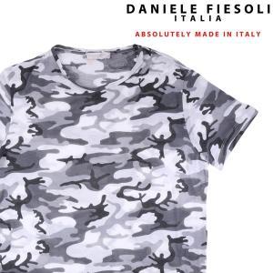【XL】 DANIELE FIESOLI ダニエレフィエゾーリ Uネック半袖Tシャツ メンズ 春夏 迷彩 グレー 灰色 並行輸入品 トップス 【訳あり】|utsubostock