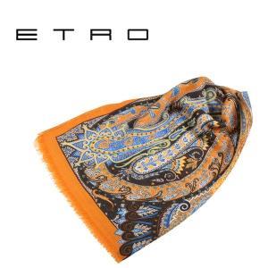 ETRO エトロ ストール メンズ ペイズリー オレンジ 並行輸入品|utsubostock