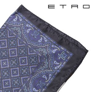 ETRO シルク100% 総柄 ポケットチーフ navy【A16735】|utsubostock