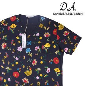 【XL】 DANIELE ALESSANDRINI ダニエレアレッサンドリーニ Vネック半袖Tシャツ メンズ 花柄 ネイビー 紺 並行輸入品 トップス|utsubostock