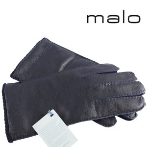 malo グローブ メンズ 秋冬 ネイビー 紺 レザー カシミヤ100% マーロ 並行輸入品|utsubostock